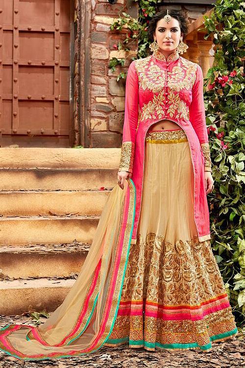 Glam Reddish Pink and Beige Designer Lehenga