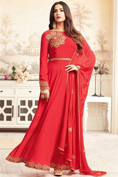 Ravishing Red Zari Embroidered Georgette Long Anarkali Suit