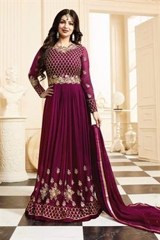 Beautiful Berryish Maroon Georgette Anarkali Suit