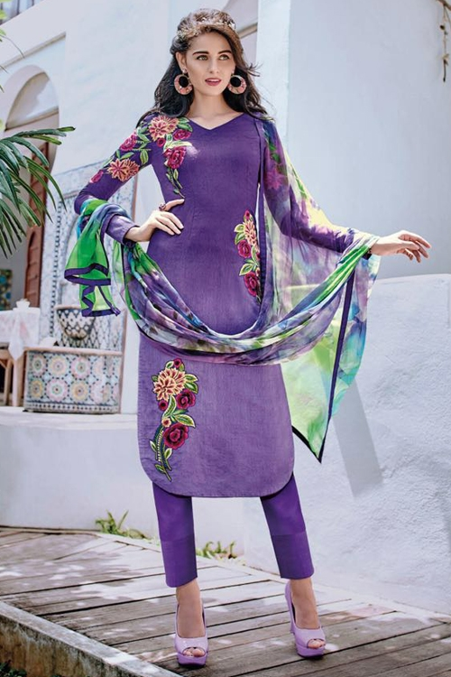 Bahni Elena Designer Cotton Jacquard Suits Purple
