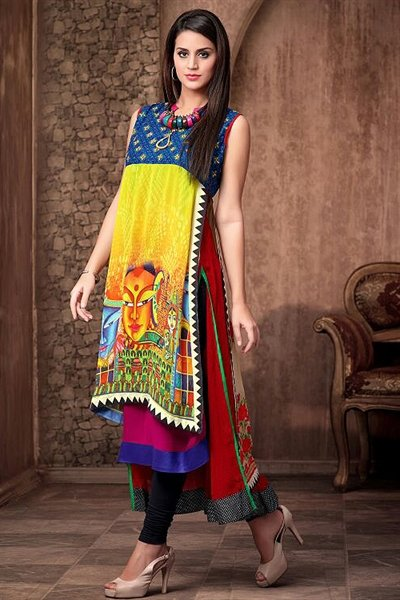 Alluring And Stunning Designer Party Wear Georgette Kurti with Complimentary necklace