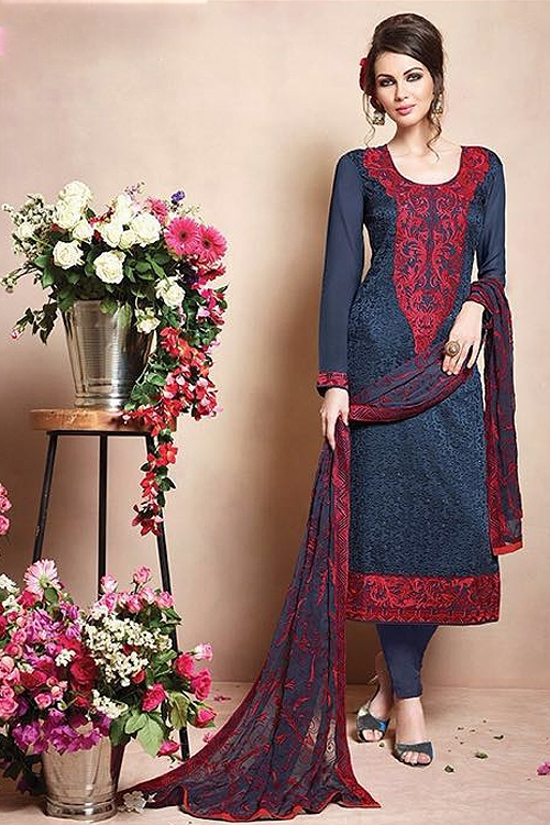 Pure Georgette Salwar Suits With Heavy Embroidery Blue