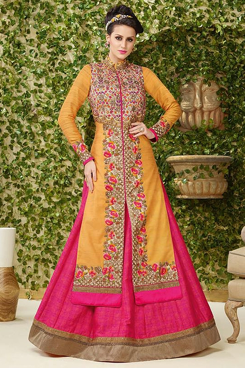 Gorgeous Pink and yellow embroidered lehenga suit