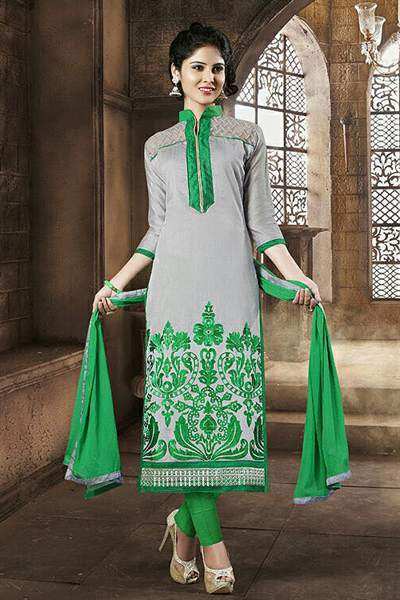 Grey & Green Embroidered Chanderi Cotton Salwar Suit