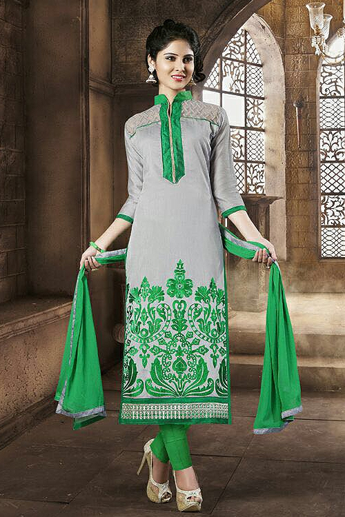 Chanderi Cotton Salwar Suit in Grey & Green