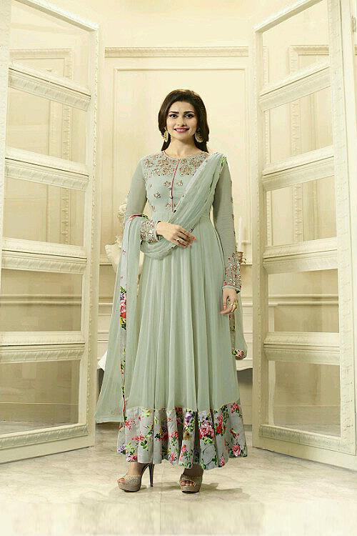 Elegant grey floral Anarkali suit