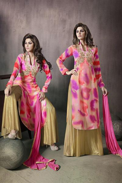 Mugdha Pink and Golden Embellished Printed Georgette Palazzo Suit
