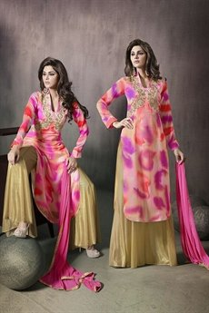 Mugdha Pink and yellow high low floral palazzo suit
