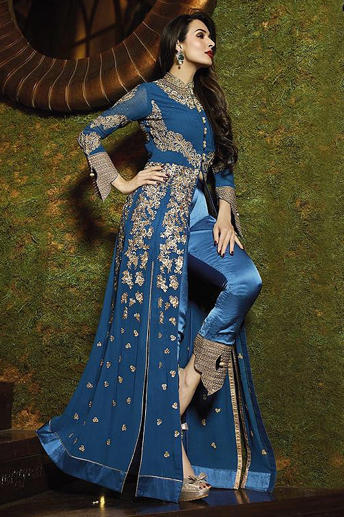 Blue Glossy Malaika Arora Khan Heavy Embroidery Anarkali Suits