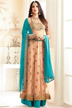 Beautiful Peach & Turquoise Blue Net Sequined Anarkali Suit