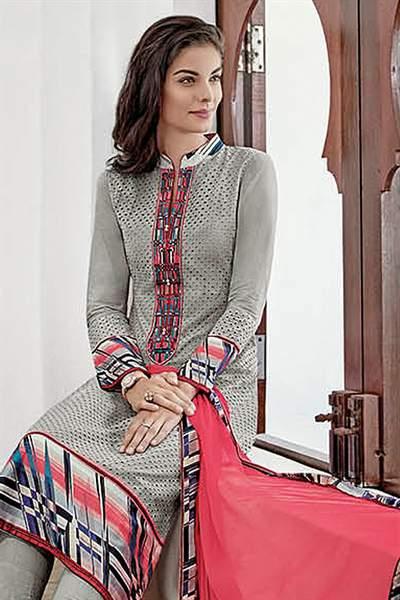 Light Grey Chikankari Work Cotton Straight Style Salwar Churidar Suit