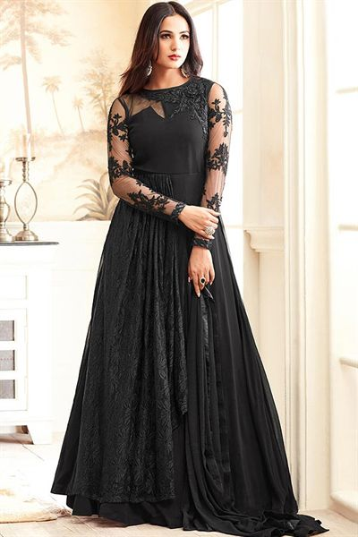 Hot Sizzling Black Net Embroidered Georgette Designer Long Anarkali Suit