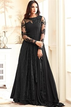 Hot Sizzling Black Georgette Net Embroidered Designer Anarkali Suit