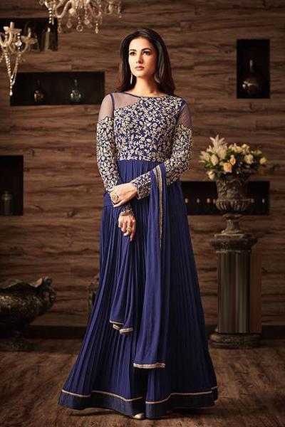 Navy Blue Cold Shoulder Anarkali Gown