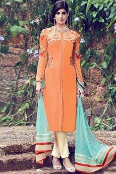 Light Orange Floral Embroidered Salwar Suit