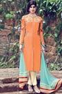 Light Orange Floral Embroidered Cotton Satin Salwar Suit