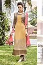 Dark Beige Embroidered Georgette Embellished Straight Cut Asian Suit