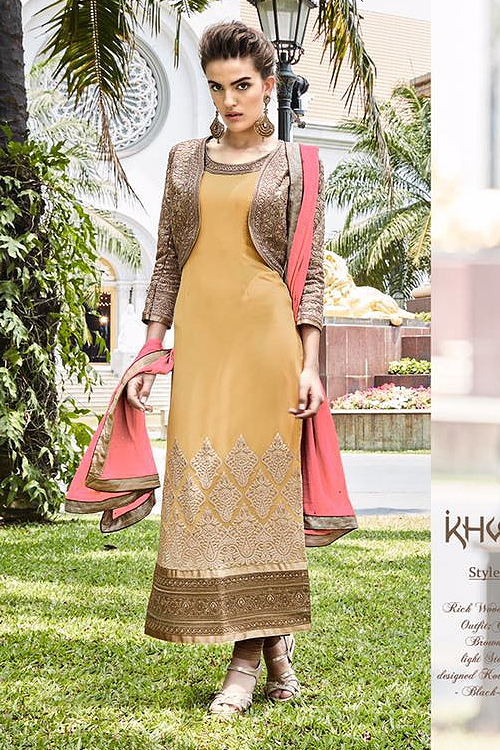 Mustard Pure Georgette Embellished Straight Cut Asian Suits