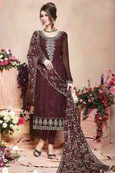 Pure Georgette Salwar Suits in Brown