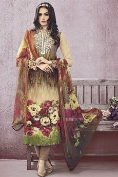Brown Color Lawn Printed Straight Cut Salwar Suits