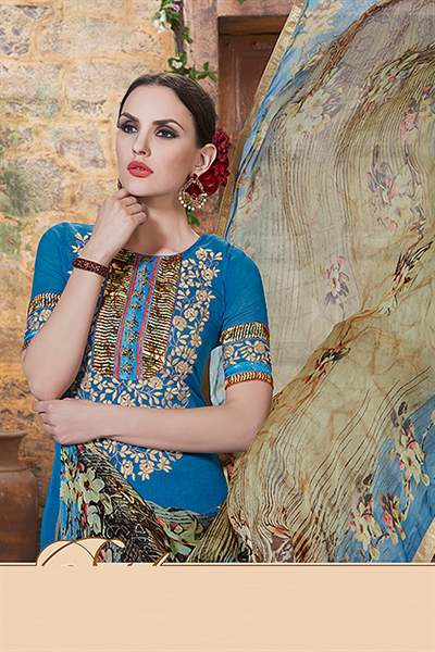 True Blue Printed Georgette Palazzo Straight Cut Suit With Printed Dupatta