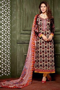Light Tan Brown and Black Printed Crepe Straight Style Salwar Suit