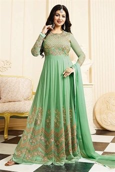 Gorgeous Light Green Georgette Anarkali Suit with Chiffon Dupatta