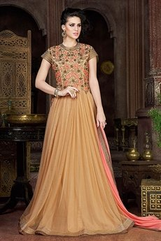 Swagat Cream Heavy Embroidery Anarkali Suit