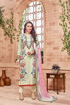 Kashmir Beauty Pista green embroidered suit with pure chiffon dupatta