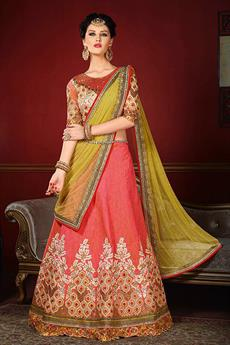 Elegant Off-white and Coral Heavy Embroidered Raw Silk Designer Lehenga