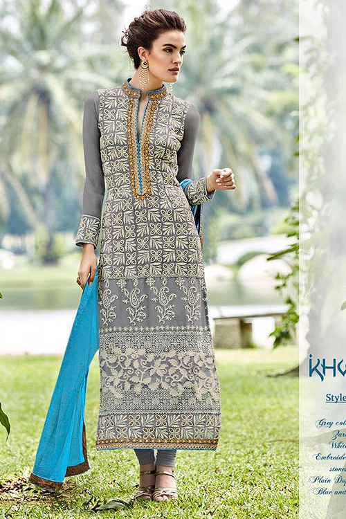 Khwaab Miraj Pure Georgette Embellished Straight Cut Suit In Grey
