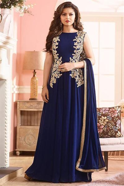 Royal Deep Blue Embroidered Georgette Long Anarkali Suit