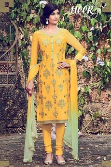 Golden Yellow Embroidered Cotton Satin Churidar Suit