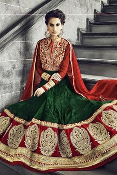 Safeena Pure Georgette Floor Length Anarkali With Heavy Embroidery In Orange & Emerald Green
