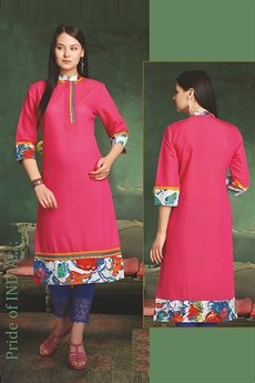 Elegant Cotton Kurti In Pink