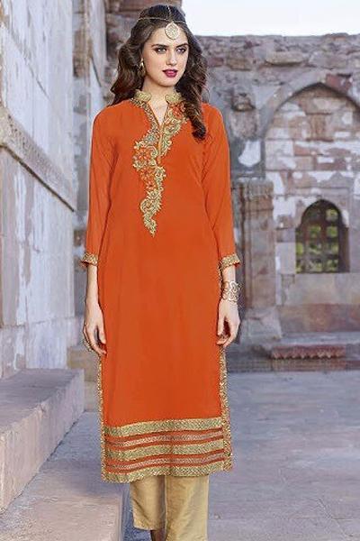 Impressive Georgette Designer Kurti In Orange
