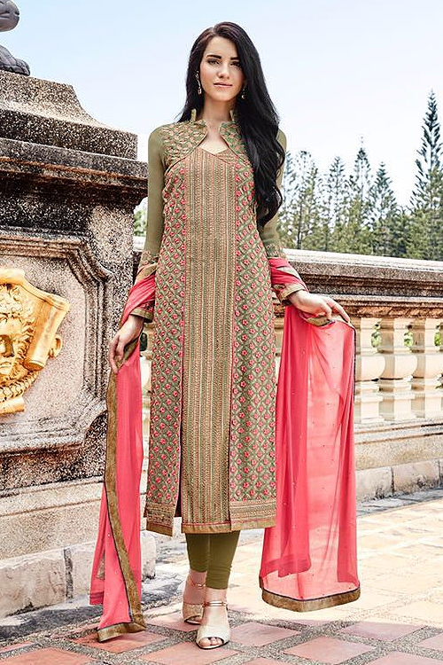 Khwaab Miraj Pure Georgette Embellished Straight Cut Suit In Mhendi Green