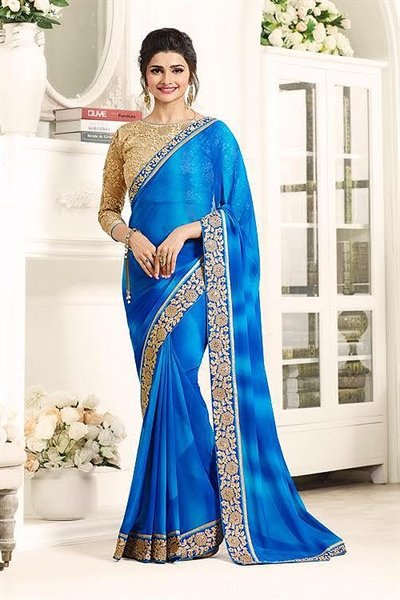Sky Blue and Beige Gorgeous Georgette Saree