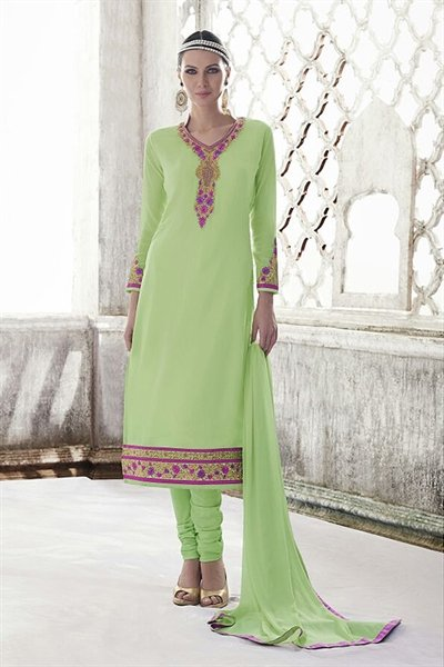 Pastel Green Thread Embroidered Georgette Straight Cut Churidar Salwar Suit
