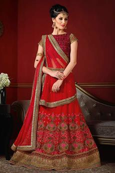 Designer Lehenga Choli in Crimson Red & Burnt Maroon with Embroidery in Raw Silk