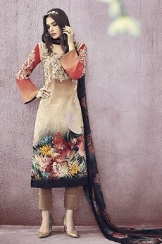 Multi Color Lawn Printed Straight Cut Salwar Suit