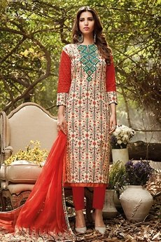 Beautiful Deep Orange Lawn Cotton Printed Suit With Green Embroidery