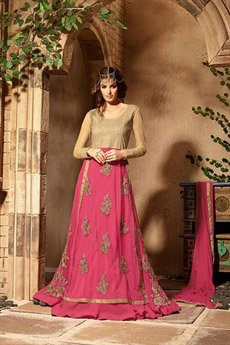 Hot Pink Colour Georgette Embroidery Designer Anarkali Suits