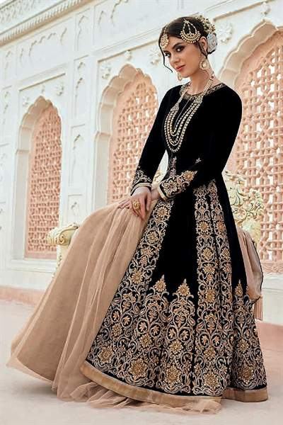 Beautiful Black Zari Embroidered Velvet Anarkali/Poncho Jacket Heavy Bridal Designer Suit