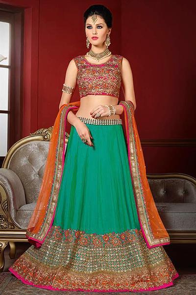 Designer Lehenga Choli in Magenta & Bluish Green Embroidered Bhagalpuri Silk