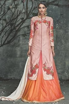 Phoenix Sand Embroidered Peach Silk Indo Western Dress