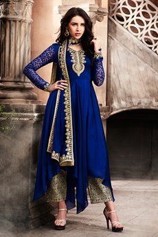 Navy Blue Zari Embroidered Asymmetric Art Silk Kurti With Jacquard Pants
