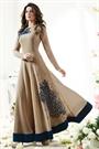 Beige And Teal Velvet Embroidered Georgette Floor Length Anarkali Suit
