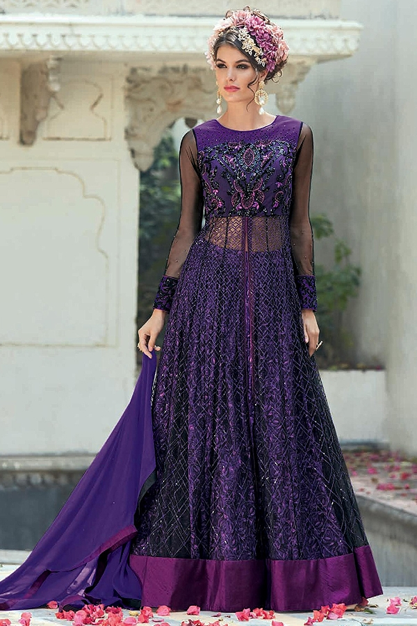 Stunning Purple Color Net Designer Anarkali Suit