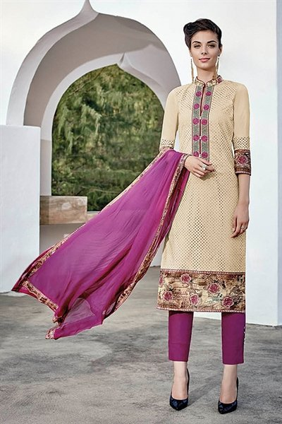 Cream Pink Chikankari Work Cotton Straight style Salwar Suit